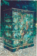 Copper Strapped Armoire with fauna of American midwest © Pamela Silin-Palmer 1999