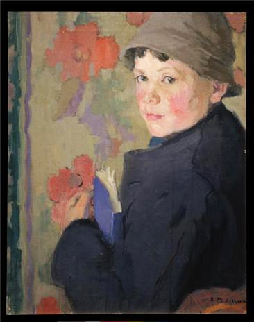 Painting by Edith Collier of Little Schoolboy of Bunmahon, County Waterford, 1915