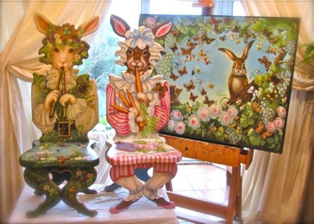 Trompe l'oeil Woodland Bunny Chair © Pamela Silin-Palmer 2011. Trompe l'oeil Pink Bunny Chair © Pamela Silin-Palmer 2011. Harry in Wonderland © Pamela Silin-Palmer 2010.