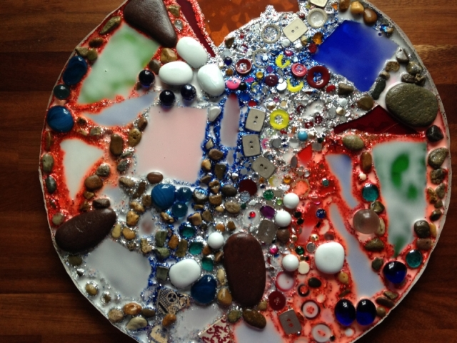 Mosaic on Circular Cake Board
